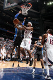 Orlando Magic v Atlanta Hawks - Game Six, Atlanta, GA - APRIL 28: Joe Johnson and Dwight Howard Photographic Print