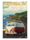 Ventura, California - VW Van Drive Art Print