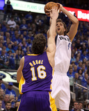 Los Angeles Lakers v Dallas Mavericks - Game Three, Dallas, TX - MAY 06: Dirk Nowitzki and Pau Gaso Photographic Print
