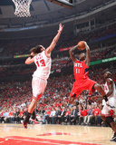 Atlanta Hawks v Chicago Bulls - Game Five, Chicago, IL - MAY 10: Jamal Crawford and Joakim Noah Photographic Print