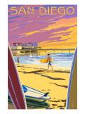San Diego, California - Beach and Pier Art Print