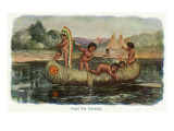 Native American Children in a Canoe
