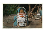 Pueblo Indian Baby Snug as a Bug in a Rug in his Papoose
