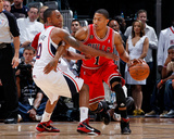 Chicago Bulls v Atlanta Hawks - Game Three, Atlanta, GA - MAY 6: Jeff Teague and Derrick Rose Photographic Print