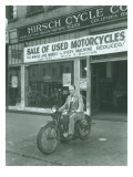 Man on Harley Davidson Motocycle at Hirsch Cycle Co., 1927