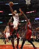 Miami Heat v Chicago Bulls - Game Two, Chicago, IL - MAY 18: Derrick Rose and Udonis Haslem