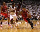 Chicago Bulls v Miami Heat - Game Three, Miami, FL - MAY 22: Derrick Rose and Mario Chalmers
