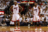 Chicago Bulls v Miami Heat - Game Three, Miami, FL - MAY 22: LeBron James and Dwyane Wade