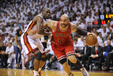 Chicago Bulls v Miami Heat - Game Three, Miami, FL - MAY 22: Carlos Boozer and Joel Anthony