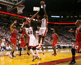 Chicago Bulls v Miami Heat - Game Four, Miami, FL - MAY 24: LeBron James and Joakim Noah