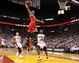 Chicago Bulls v Miami Heat - Game Four, Miami, FL - MAY 24: Derrick Rose, LeBron James and Mike Bib