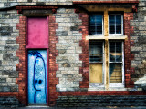 Derelict Door and Window with Graffiti