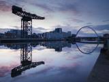 Scotland, Glasgow, Clydebank, the Finneston Crane and Modern Clydebank Skyline