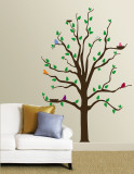 Tree With Multi-Colored Birds Wall Decal
