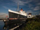RMS Queen Mary Cruise Ship and Russian Submarine Scorpion at a Port, Long Beach