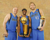 Dallas Mavericks - Jason Terry, Jason Kidd, & Dirk Nowitzki with the MVP & Championship Trophies
