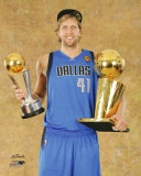 Dallas Mavericks - Dirk Nowitzki with MVP & Championship Trophies Photo