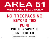 Area 51 Tin Sign