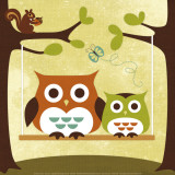 Two Owls on Swing Art Print