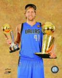 Dirk Nowitzki with the 2011 NBA Championship & MVP Trophies Game 6 of the 2011 NBA Finals