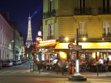 Eiffel Tower and Cafe on Boulevard De La Tour Maubourg, Paris, France Photographic Print