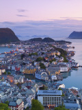 Elevated View over Alesund at Dusk, Sunnmore, More Og Romsdal, Norway