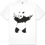Pandémonium : pochoir noir  blanc, avec panda et revolvers