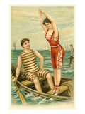 Woman in Bathing Costume Diving from Boat