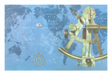 Map of World, Sextant, Constellations