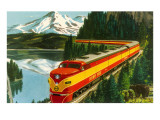 Train Through Rocky Mountains Premium Poster