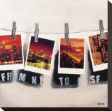 From NY To SF Stretched Canvas Print