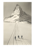 Skiers Leaving Matterhorn Art Print