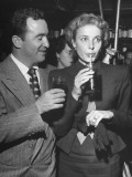 Laraine Day Having a Soft Drink with Her Husband at the Drugstore Party at Schwab's Pharmacy