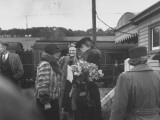 Eleanor Roosevelt Chatting with Mrs. Winston Churchill at a Railway Station