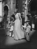 Attendants for Wedding of Lady Sarah Spencer-Churchill and Lt. Ed Russell, Outside the Church
