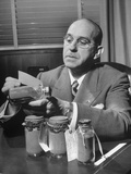 Big Ring Man, with Waters Schwab, Holding a Sample Bottle of Gold Gleanings