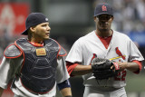 Cardinals v Milwaukee Brewers - G. Six, Milwaukee, WI - Oct. 16: Yadier Molina and Edwin Jackson
