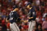 Brewers v St. Louis Cardinals - G. Four, St Louis, MO - Oct. 13: John Axford and Jonathan Lucroy