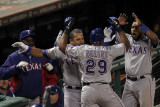 Rangers v Cardinals - Oct. 27: Adrian Beltre, Ron Washington, Yorvit Torrealba and Elvis Andrus