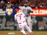 Texas Rangers v St Louis Cardinals, St Louis, MO - Oct. 27: Elvis Andrus and Matt Holliday