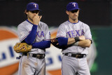 Game 7 - Rangers v Cardinals, St Louis, MO - October 28: Ian Kinsler and Michael Young
