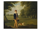 An Eton Schoolboy Carrying a Cricket Bat, with His Dog, on Playing Fields,