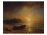 A Coastal Landscape with Arab Fishermen Launching a Boat at Sunset