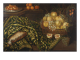 Still-Life with Basket of Fruits on a Table; Nature Morte Aux Paniers De Fruits Et De Fleurs Sur…