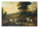 Hounds Bringing Down a Stag in a River