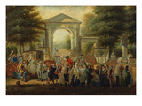 Elegant Ladies, Courtiers, Priests and Soldiers Congregating Outside the Portalada De Villanueva