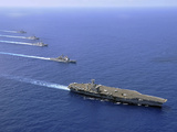 Military Ships Operate in Formation in the South China Sea