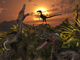 A Group of Feathered Carnivorous Velociraptors from the Cretaceous Period on Earth