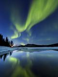 Aurora Borealis over Sandvannet Lake in Troms County, Norway Photographic Print