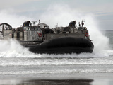 U.S. Navy Landing Craft Air Cushion Makes a Beach Landing